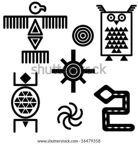 Vector iconic symbols in southwestern design. - stock vector