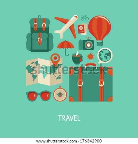 Vector icons and concepts in flat style - travel and vacation, Trendy banners and signs - summer and journey - stock vector