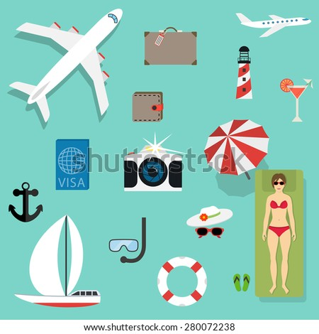 Vector icons and concepts in flat style - travel and vacation, Trendy banners and signs - summer and journey