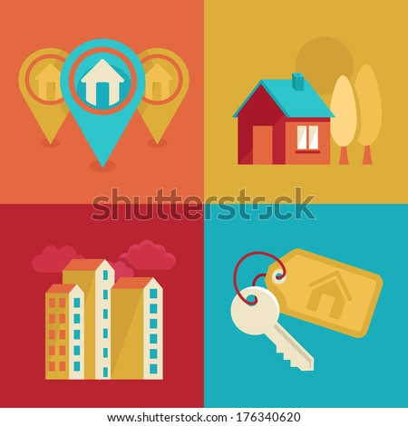 Vector icons and concepts in flat trendy style - houses illustrations and banners for real estate agencies - stock vector