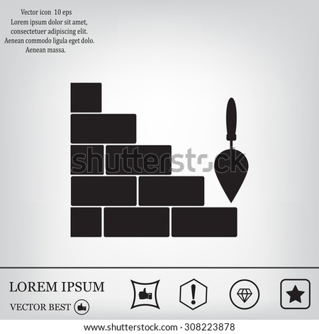 Vector icons brickwork and building trowel - stock vector