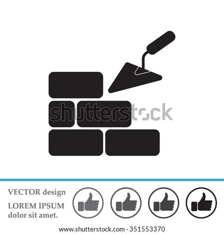 Vector icons brickwork and building trowel