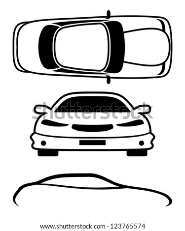 Vector. 3 icons. Cars. - stock vector
