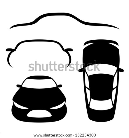 Vector. 4 icons. Cars. - stock vector