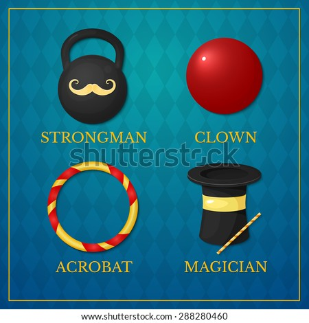 Vector icons circus artists, strongman, acrobat, magician, clown on vintage background - stock vector