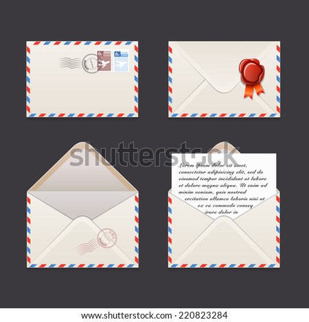 Vector icons collection envelope - stock vector