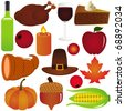 Vector Icons collection : set of Thanksgiving, Fall Autumn season Isolated on white - stock vector