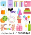 Vector Icons : Cute Party Element, in sweet pastel colors - stock vector