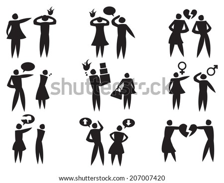 Vector icons depicting man and woman in disagreement and abusive relationships - stock vector