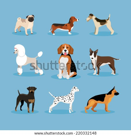 vector icons dogs set isolated on blue background - stock vector