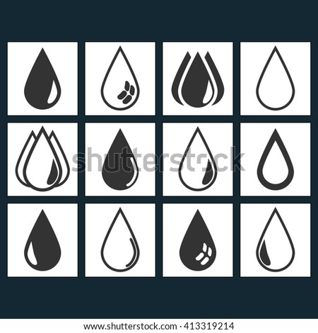 Vector icons drops fall set of black icons on white background squared. - stock vector