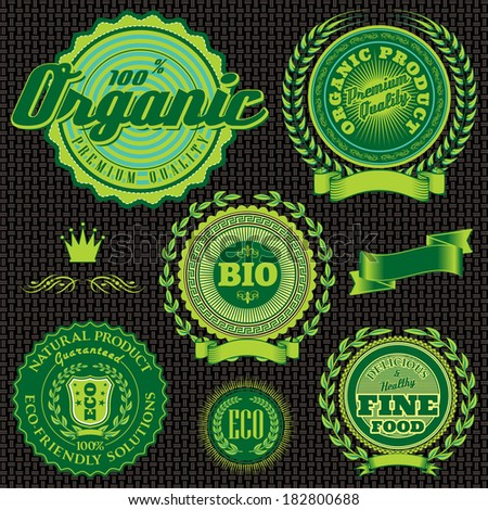 vector icons, emblems relating to environmentally pure nutrition - stock vector