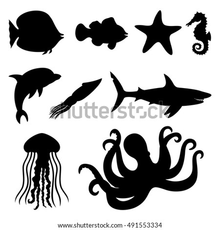 Vector icons. Fish, starfish, seahorse, squid, dolphin, shark, jellyfish, and octopus.