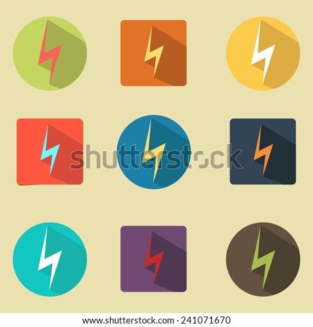 Vector icons flat design lightning - stock vector