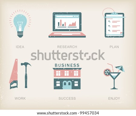 Vector icons for a business success process - stock vector