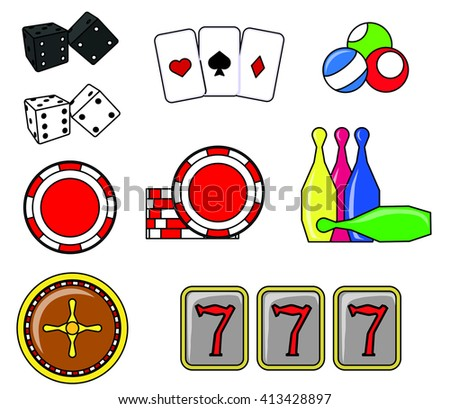 Vector icons for casinos.