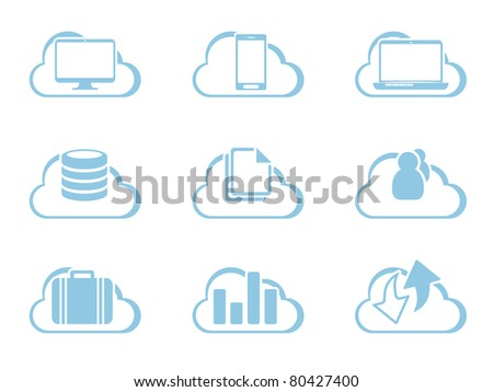 Vector Icons for Cloud Computing - stock vector