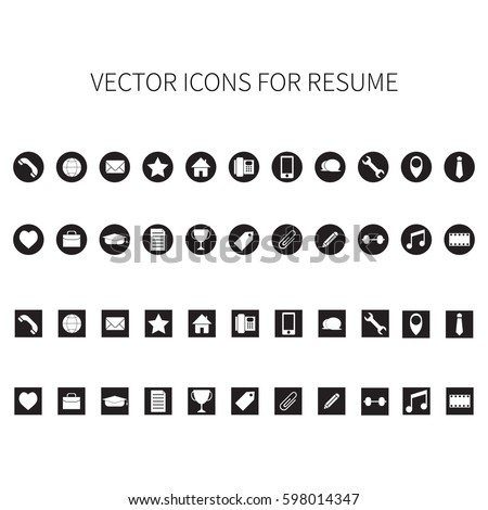Vector icons for resume.
