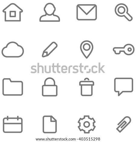 Vector icons for simple minimalist design. Symbols and buttons in the form of lines, strokes and contours. - stock vector