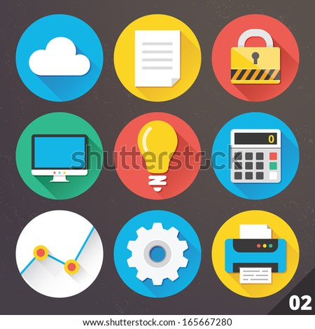 Vector Icons for Web and Mobile Applications. Set 2. - stock vector