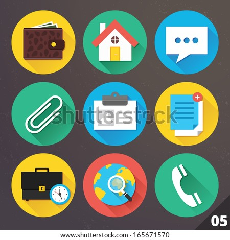 Vector Icons for Web and Mobile Applications. Set 5. - stock vector