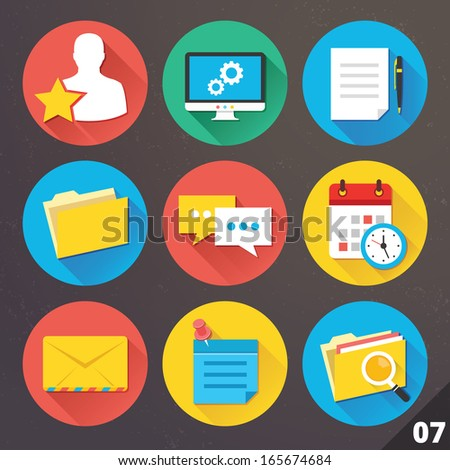 Vector Icons for Web and Mobile Applications. Set 7. - stock vector