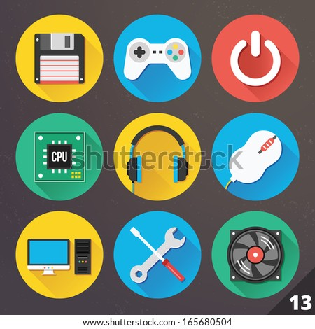 Vector Icons for Web and Mobile Applications. Set 13. - stock vector