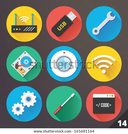 Vector Icons for Web and Mobile Applications. Set 14. - stock vector