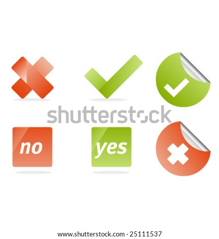 """Vector icons for """"Yes"""", """"No""""  set 3 - stock vector"""