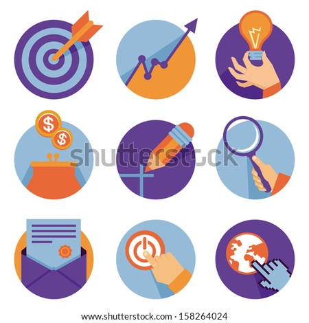 Vector icons in flat retro style - business and development illustrations - stock vector