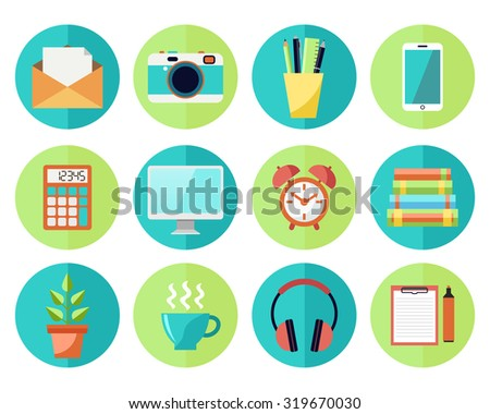 Vector Icons in flat style. Business or Education Work Flow Items and Gadgets - stock vector