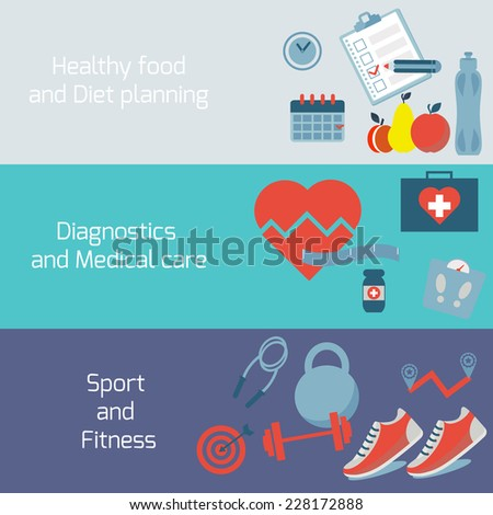 Vector icons in flat style - healthy food and training, sport, dieting, weight loss, fitness, healthy lifestyle. - stock vector
