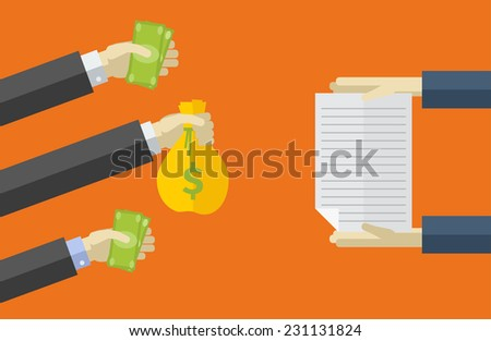 Vector icons in flat style. purchase of securities. Various payment methods. - stock vector
