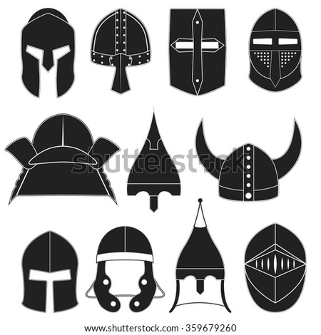 Vector icons, logo, labels of monocrome black helmets of ancient warriors on a white background for projects, cards, invitations. Helmets design elements. Sparta, gladiators, knights, samurai helmets - stock vector