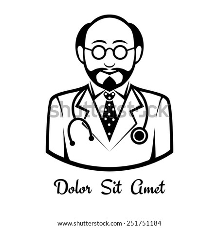 Vector icons male doctor drawn black lines. Space for text - stock vector