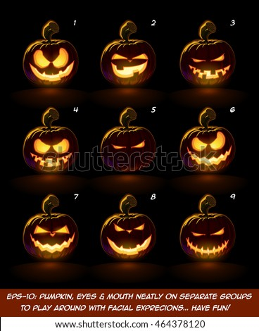 Vector icons of a lighten Jack O Lantern glowing in the dark in 9 Mean, Playful n Naughty expressions. Each expression on separate Layer. Pumpkin, Eyes, Mouth, Glow and Floor Glow on separate groups.