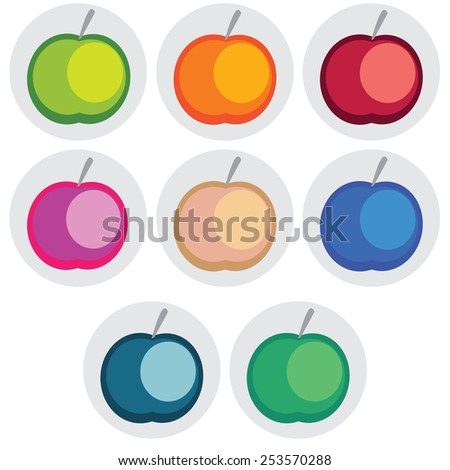 Vector icons of apple in bright different colors on gray background - stock vector