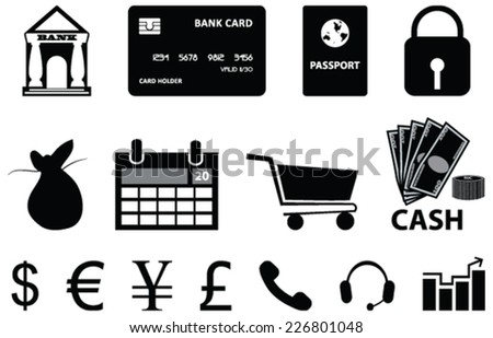 Vector icons of bank, currency and money related objects - stock vector