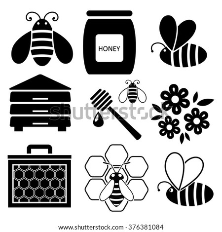 vector icons of bees and honey business - stock vector