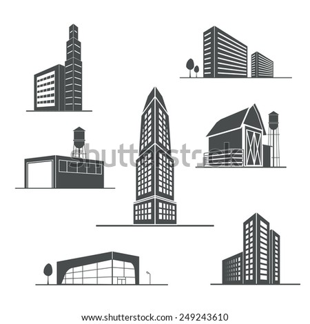 Vector icons of buildings - stock vector