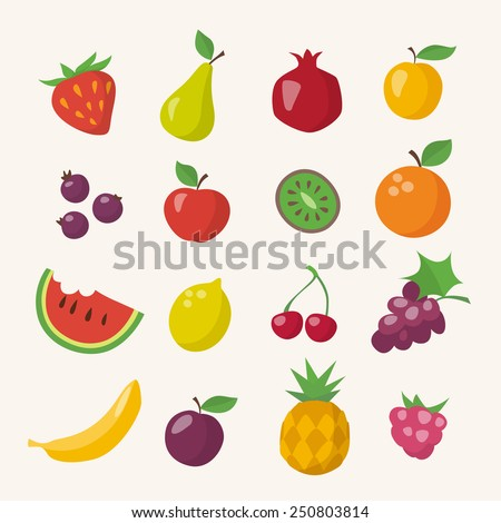 Vector icons of different fruits in flat style