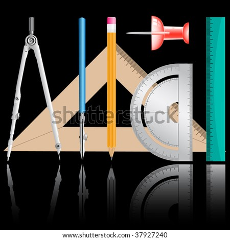 vector icons of drawing instrument - stock vector