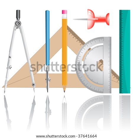 vector icons of drawing instrument. All layers are grouped. - stock vector