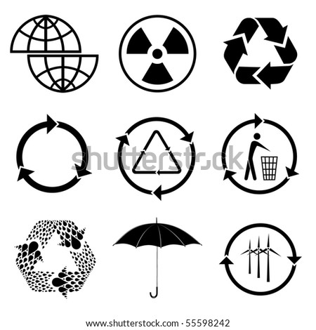 Vector icons of ecology