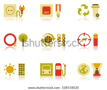 Vector icons of efficient energy use, recycling of wastes, tree planting, organic farming, and wildlife conservation