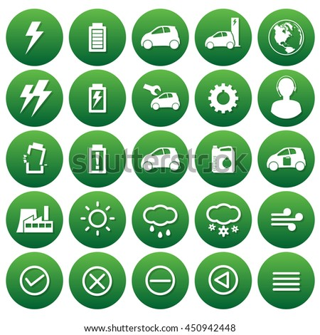 vector icons of electricity car and weathers
