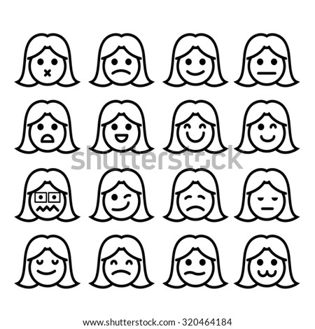 Vector icons of girl faces