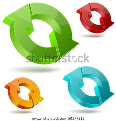 Vector icons of glossy circulating 3D arrows. - stock vector