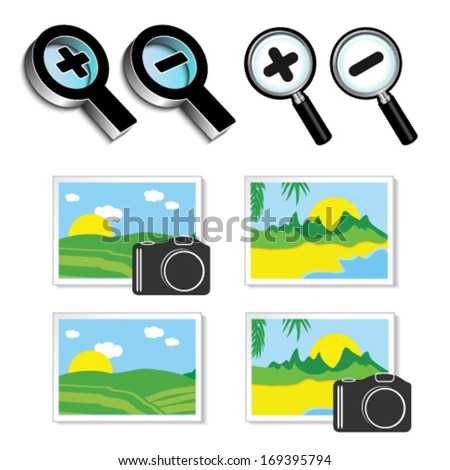 Vector icons of magnifying glass and icons of images, photos - stock vector