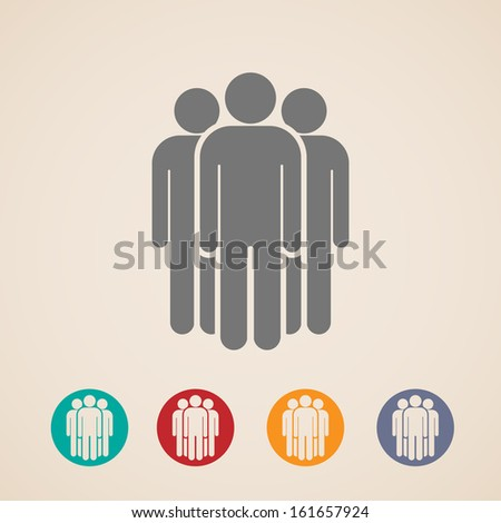 vector icons of people group  - stock vector